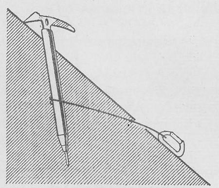 Использование ледоруба с тросиком