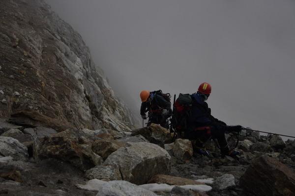 Дюльфера на ледовом участке спуска с п. Брно
