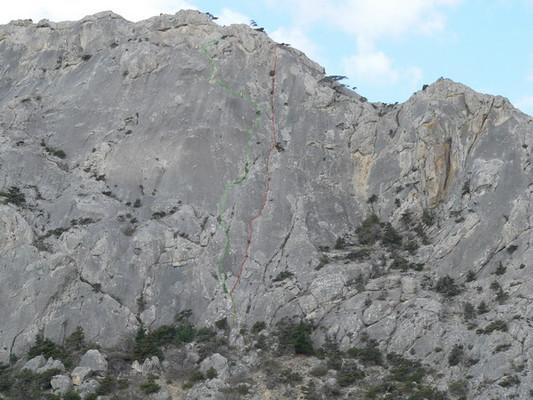 Первый сектор. Зеленая нитка - Мучача (2б), красная - Двойка справа (2а)